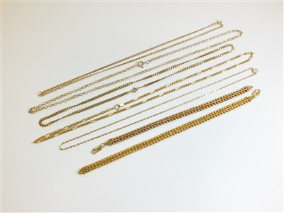 Lot 7-A collection of 9ct gold chains and bracelets