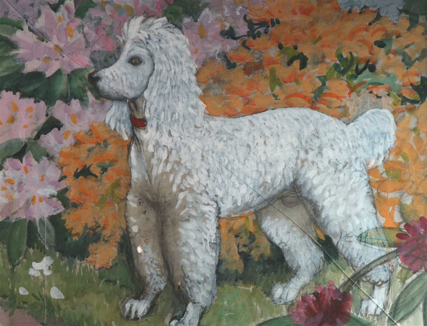 Lot 2-Charles Frederick Tunnicliffe (1901 - 1979), Poodle beside a flower bed