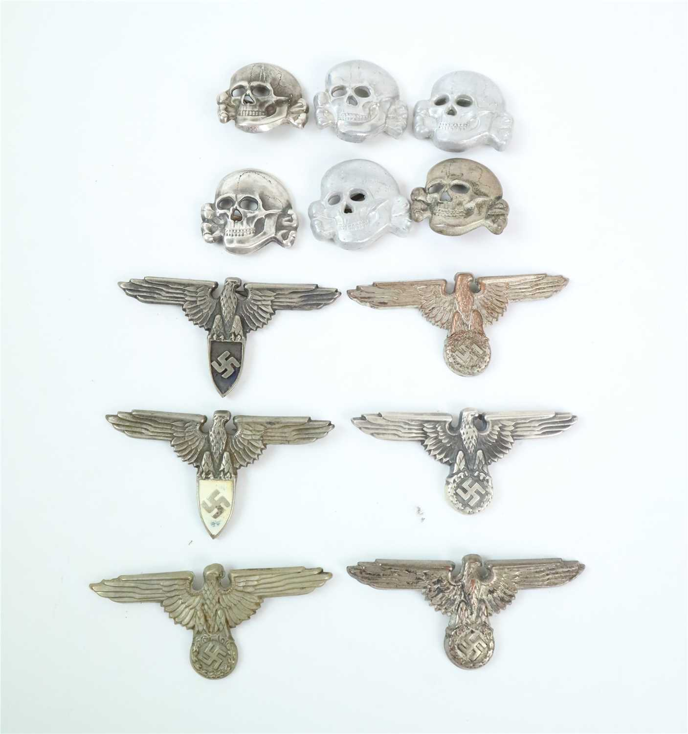 316 - Six SS-style cap eagles and six skulls