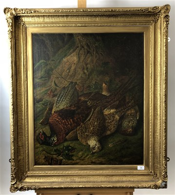 Lot 6-Bagley, Dead game, oil on canvas