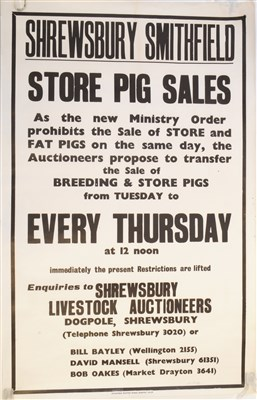 Lot 538-Of local interest, a 20th century Shrewsbury Smithfield 'Store Pig Sales' auction poster