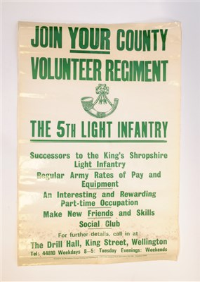 Lot 547-Of local (Shropshire interest) a 20th century Regimental advertising poster