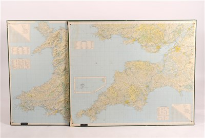 Lot 549-Five large wall hanging map board of areas of The United Kingdom