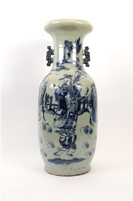 Lot 523-A large late 19th century Chinese blue and white porcelain vase