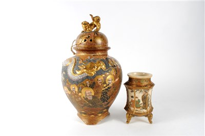 Lot 519-A Japanese Satsuma ware vase and cover and a...