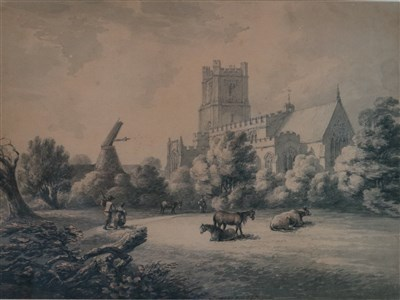Lot 36-Thomas Hearne (1744-1817), Great Dunlow Church with Figures