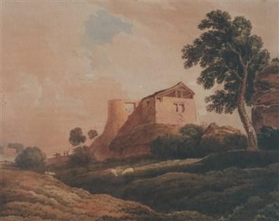 Lot 38-John Varley (1778-1842), 'Tree, Barn and Ruined Oast House of Keln'