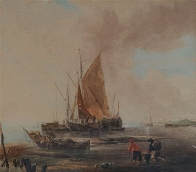 Lot 48-Attributed to Samuel Owen (1768-1857), Fishing Boat at Anchor