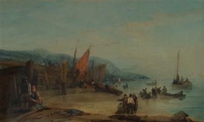 Lot 43-Samuel Owen (1768-1857), Fisherfolk on Beach