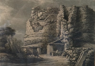 Lot 47-Thomas Hearne (1744-1817), Figures and a cart near a ruined tower