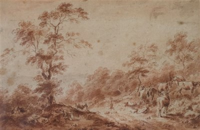 Lot 30-Attributed to Paul Sandby RA (1730-1809), Sleeping Herdsmen