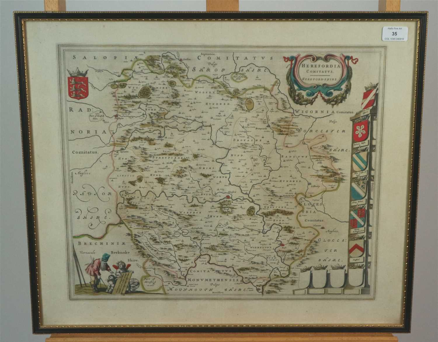 Lot 35-18th century map of Herefordshire