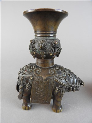 Lot 56-A Chinese bronze and gemset elephant incense...