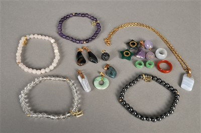 Lot 85-A collection of harstone set jewellery