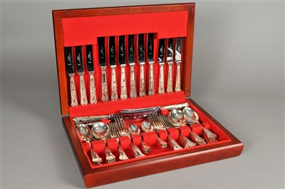 Lot 67-A cased canteen of  plated cutlery