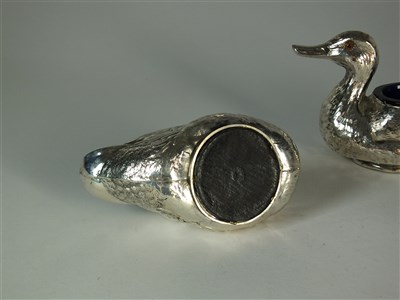 Lot 227-A cased pair of Edwardian novelty silver duck salts