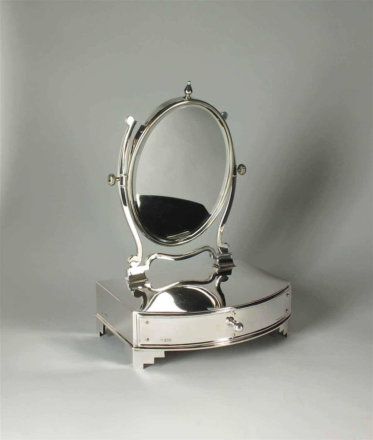 242 - An Edwardian silver dressing table mirror