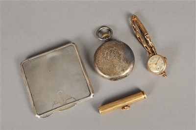 Lot 73-An Art Deco silver compact, a 9ct gold wristwatch, a pencil and a pocket watch