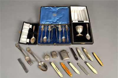 Lot 75-A small collection of silver and pocket knives