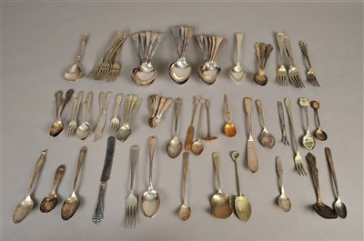 Lot 78-A collection of plated wares and white metal flatware