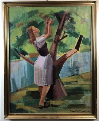 Lot 19-Ernst Fritz Hansen, 20th Century Danish School, Lady Picking Apples