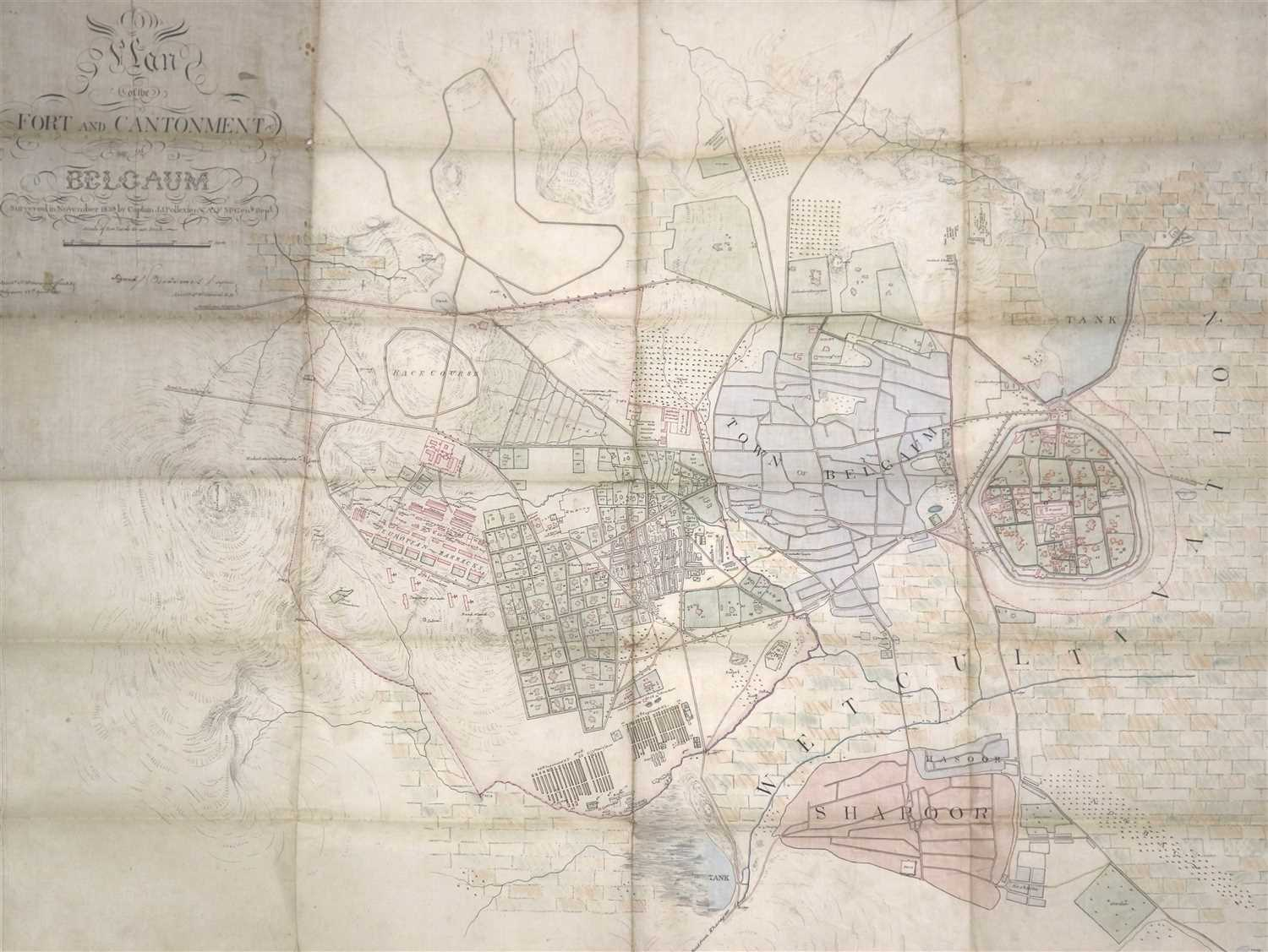 Lot 72-19th century British Indian military survey map