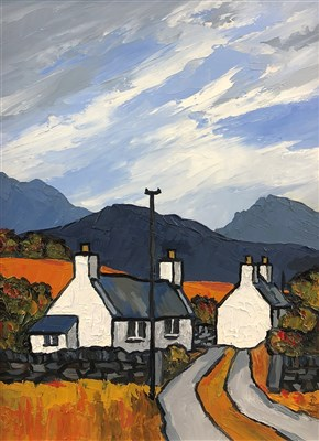 Lot 15-David Barnes, Cottages and distant Snowdonia