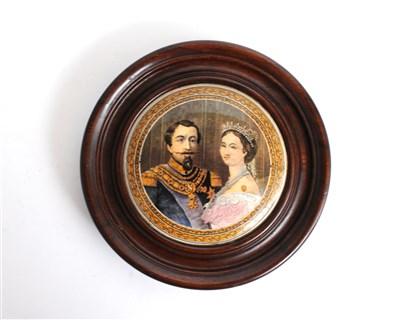 Lot 1-An English prattware pot lid of Napoleon III and Princess Eugenie