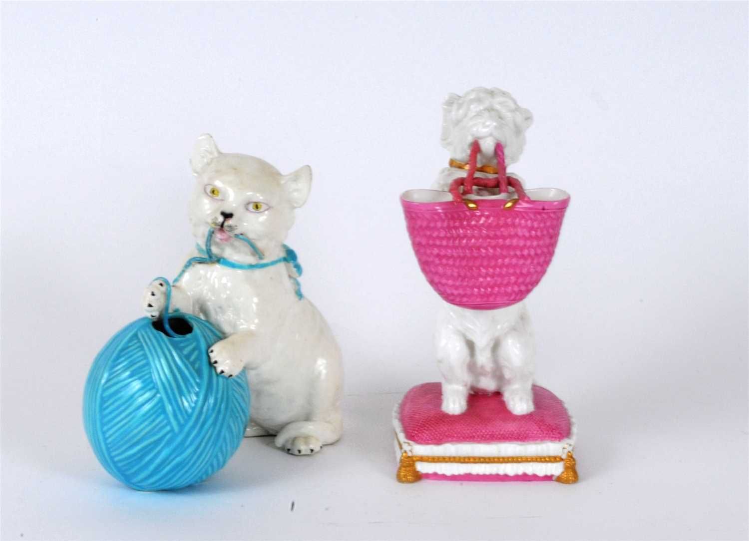 Lot 16-William Brownfield figure of begging dog and similar figure of kitten with yarn