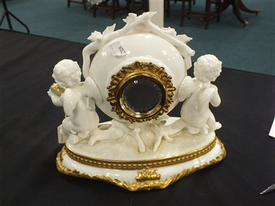 Lot 20-Victorian porcelain mantel timepiece