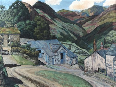 Lot 12-Arthur Henry Andrews (1906-1966), Farm in a Mountainous Landscape