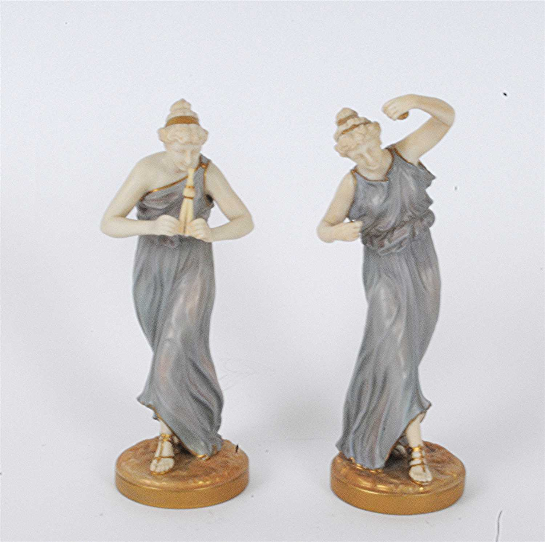 Lot 24-A pair of Royal Worcester porcelain figures