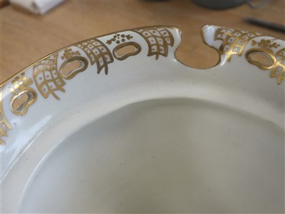 Lot 10-A garniture of Coalbrookdale-style porcelain vases
