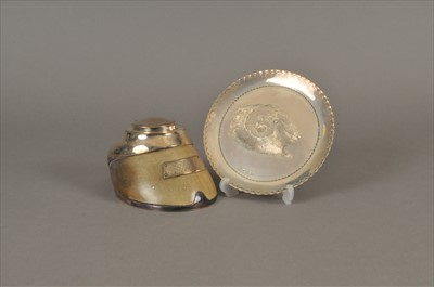Lot 20-A Victorian silver mounted horses hoof inkwell