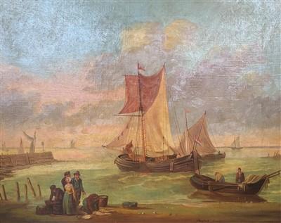 Lot 9-Attributed to Hendrik Savry (1823-1907), coastal scene, oil on canvas