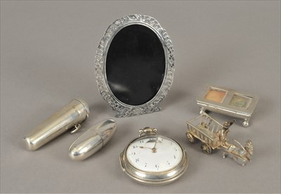 Lot 2-A sewing reel holder, a cheroot case, a stamp box, a novelty white metal goat and cart model, a white metal frame and a pair cased watch