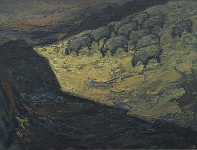 Lot 1-Charles White (Welsh School, 1928-1997), Sheep in a Yellow Field
