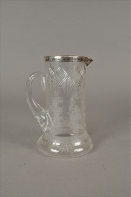 Lot 34-A silver mounted etched glass jug