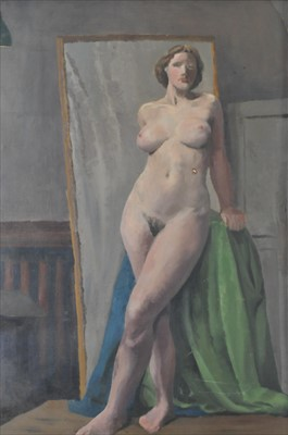 Lot 10-Landscape and Female Nude study, Bloomsbury Group style, circle of Vanessa Bell (1879-1961)