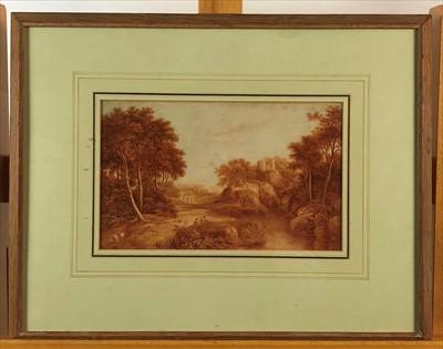 Lot 20-British school, watercolour landscape