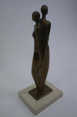 Lot 21-Bronze Sculpture of an Entwined Couple with Marble Base