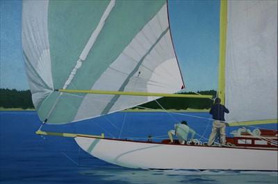 Lot 19-J Colquhoun (20th century), Men on a Sailboat