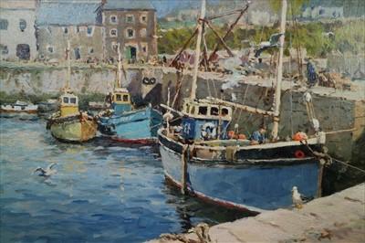 Lot 10-Josiah John Sturgeon RI RSMA (British 20th Century, 1919-2000), Mousehole Harbour