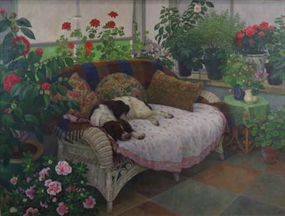 Lot 25-Diana Calvert NEAC (British 20th-21st Century), Spaniel in the Conservatory