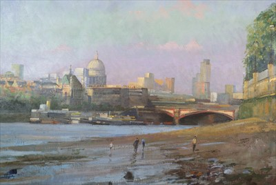 Lot 16-Bob Brown NEAC (British Contemporary), Mudlarks at Low Tide on the Thames Beach