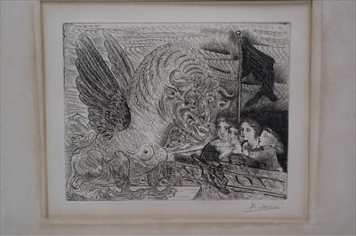 Lot 12 - Pablo Picasso (Spanish 20th Century, 1881-1973), Taureau aile contemple par quatre enfants