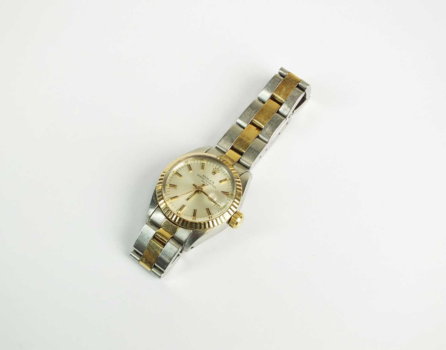 124 - A lady's Rolex Oyster Perpetual Date stainless steel wristwatch