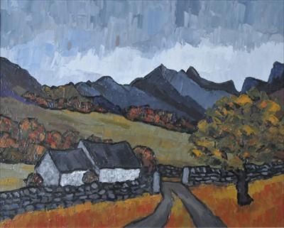 Lot 20-David Barnes (Contemporary, Welsh School), Storm over the Nantlle Ridge