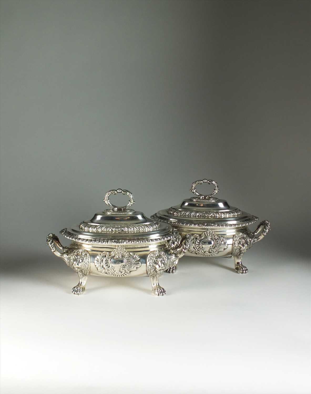 19 - A pair of George III silver sauce tureens