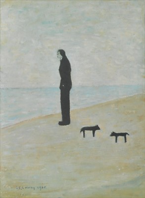 Lot 19-L.S. Lowry (British Northern School, 1887-1976), Man Looking out to Sea
